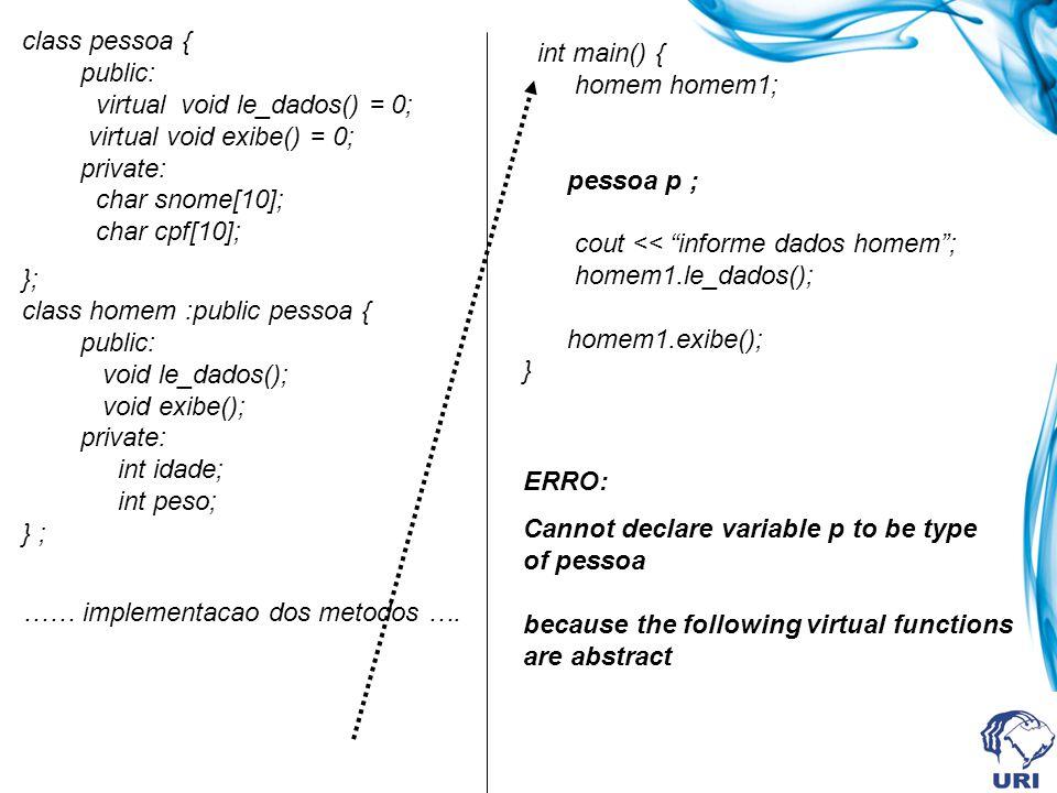 class pessoa { public: virtual void le_dados() = 0; virtual void exibe() = 0; private: char snome[10]; char cpf[10];